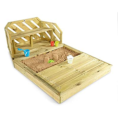 Plum Attractive Fun Multi-purpose High Quality Durable Premium Wooden Sand Pit and Bench for Kids 3 Years Up