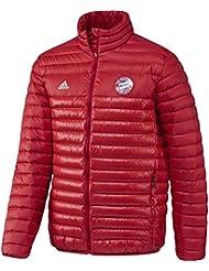 adidas FCB LT Down JKT - Chaqueta de la línea Bayern FC para hombre, color rojo / blanco, talla 2XL