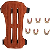 Sharplace 6 Pedazos Clips para Nocking Punto Tiro+1 Pedazo Protector de Brazo para Tiro al Blanco Marrón