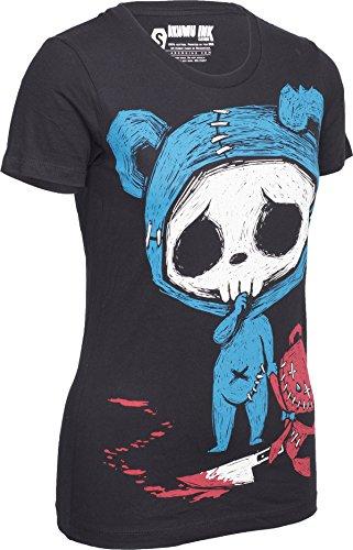 Akumu Ink THE CULPRIT Bloody Teddybear Skeleton SHIRT Gothic Schwarz mit buntem Motiv