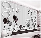 HONGYAUNZHANG Schwarz Und Weiß Geometrische Blume Benutzerdefinierte Fototapete 3D Stereoskopische Wandbild Wohnzimmer Schlafzimmer Sofa Hintergrund Wandbilder,110Cm (H) X 190Cm (W)