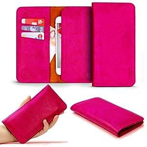 "Original Urcover® - Custodia Universale a portafoglio da 5,5"" pollici [Flovemei] [Pelle] [Magnete] [Slot card] Cover Smartphone [ Fucsia ]"