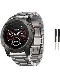 Correa de reloj inteligente para Garmin Fenix 5x GPS, Reemplazo Banda Correa de reloj de acero de titanio pulsera vneirw
