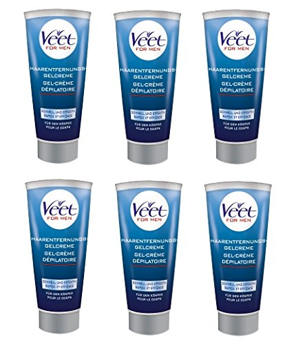 Veet for Men Vorteilspack Haarentfernung Enthaarungs Gel Creme Rasur 1200ml (6 x 200ml)