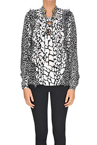 Michael Michael Kors Animal Print Silk Blouse Woman Black XS int. Michael Kors Animal Print