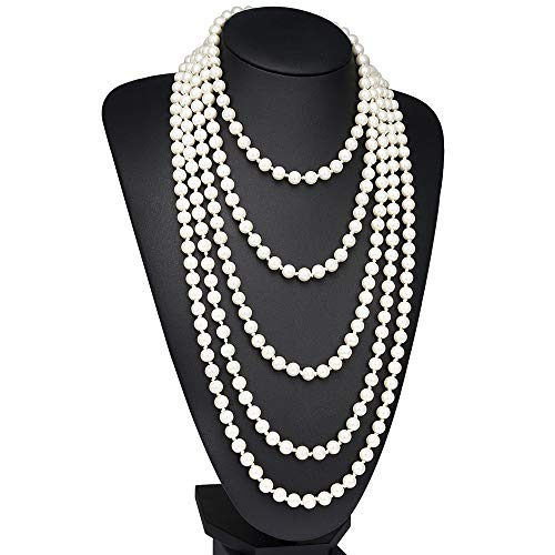 BABEYOND Modische Imitation Perlen Kette Flapper Art Deco 1920s Gatsby Kostüm Accessoires Lange Perle Halskette 150 cm / 59