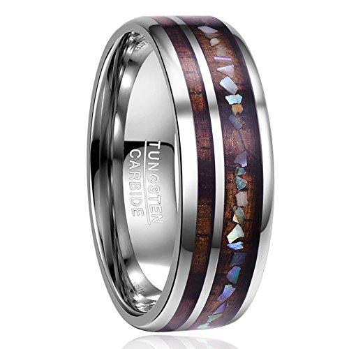 Ring für Männer Silber mit Holz und Muschel Design, Unisex Ring aus Wolframcarbid 8mm, Ring für Hochzeit, Verlobung, Partnerschaft und Fashion, Größe 62 (22)