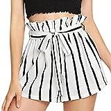 242a9f15e Pantalones Cortos de Mujer Fosen Mujeres Verano Elegante Cintura Alta  Pantalón a Rayas (M