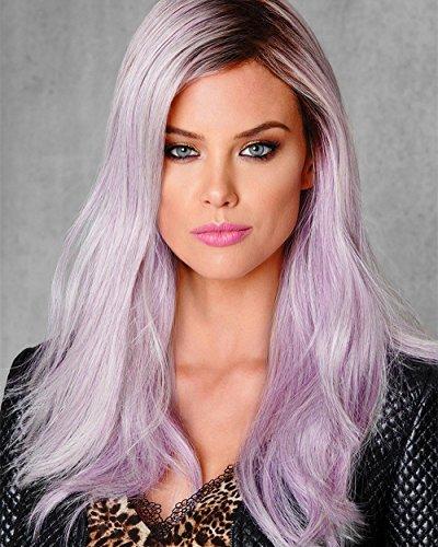 Perücke Damen lila Pinke Haar Lace Front Perücke 24