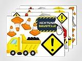 GRAZDesign 401015_4 Wandsticker Kinderzimmer Achtung Baustelle | Wandtattoo mit Schildern und Wagen | Sticker Set für Kinderzimmer/Jungs (DIN A4 (4Stück))