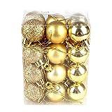 Oshide Weihnachtskugeln set 24 Stück Ø3 cm Christbaumkugeln Weihnachtsdeko aus Kunststoff Golden