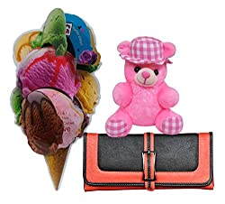 Love Gift For Her - Ice Cream Themed Greeting Card, Womens Wallet & Soft Teddy