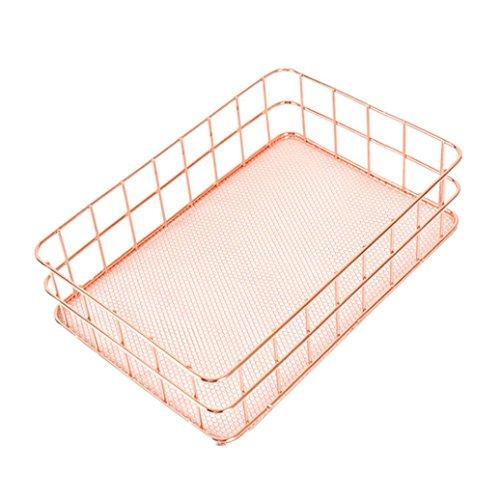 HKFV Metall-Lagerungs-Korb-Kisten-Weinlese-Büro-Speicher-Schreibtisch-Organisator Desktop-finishing Obstkorb Metall Aufbewahrungskörbe Storage for Kitchen, Bathroom, Closet, Bedroom (B-24.5*16*6.5 cm)