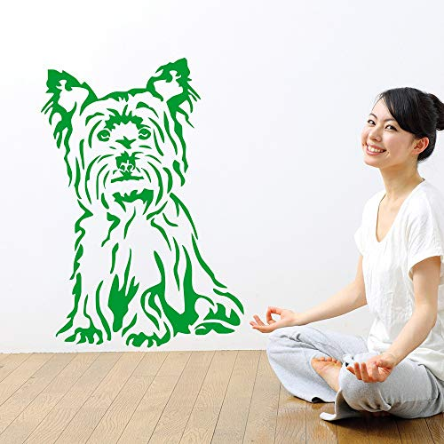Ajcwhml Niedlicher Hund sitzend Wandsticker Yorkshire Terrier Perot Wandmalerei Hauswand Schlafzimmer Art Deco Wandtattoo 40x57cm -