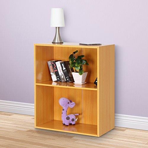 Miadomodo Bücherregal Wandregal Bücherkommode mit 2 Ablageflächen in verschieden Farben (Buche) (Bücherregal Buche)