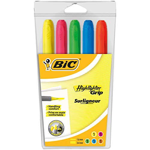 BIC Highlighter Grip Marcadores Punta Ajustable - colores Surtidos, Blíster de 5 unidades