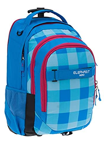 ELEPHANT Trolley HERO SIGNATURE Trolleyrucksack Rucksack Schultrolley (Plaid Aqua (Türkis Magenta))