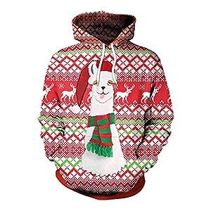 MIRRAY Damen Weihnachten Pullover 3D Party Schneeflocke Alpaka Drucken Top Hoodie Sweatshirt Bluse Tops Rot M L XL XXL