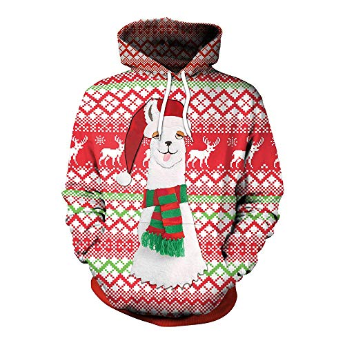 Jaminy Damen Christmas 3D Druck Hoodies Kapuzenpullover Langarm Galaxy Bunte Pullover Kapuzenpulli Sweatshirt Kapuzenjacke (Rot, M)
