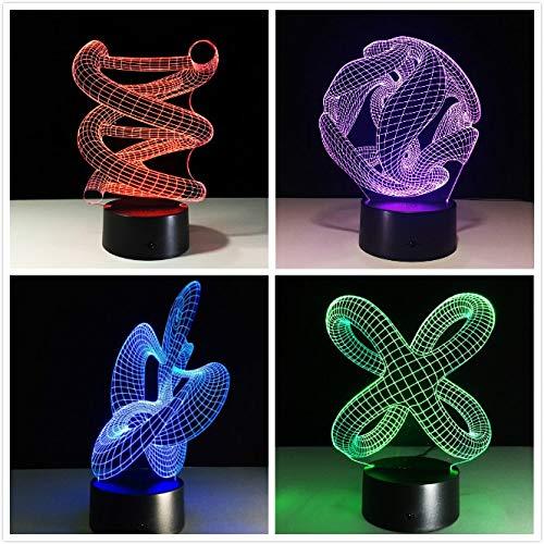 3D DNA LED Nachtlicht ABS Touch Base Abstract Spiral Birne Lampe LED Nachtlicht Tisch Illusion Home Bar Schreibtisch Dekorative Lava Lampe han-7732 -