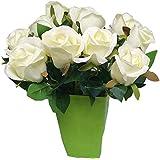 Hosaire 8pcs Fleurs artificielles de Bouquets Des Rose romantique Fleur de simulation de la fête des mères Décoration pour Maison Mariage -Blanc