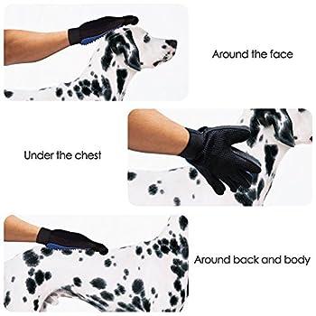 EMA Gant pour poils d'animaux Magic Animal True touch Gant de massage chien chat Fourrure Brosse de bain épilateur Toilettage Gant en caoutchouc Grooming