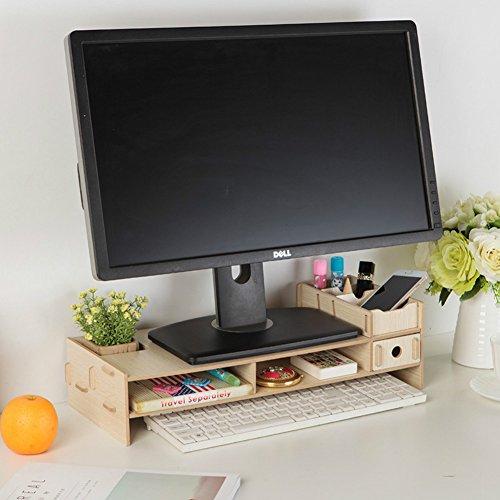 Support Dreamaccess - En bois - Pour TV, ordinateur portable, écran, ordinateur de bureau - Avec tiroir supplémentaire, compartiment pour téléphone portable, étagère, boîte à crayons - Organiseur pour le quotidien - Plusieurs compartiments Moyen chêne