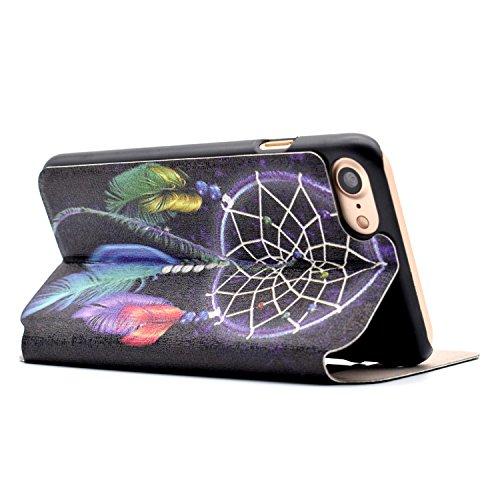 Voguecase® für Apple iPhone 7 hülle,(Bleistift) Sichtfenster Kunstleder Tasche PU Schutzhülle Tasche Leder Brieftasche Hülle Case Cover + Gratis Universal Eingabestift Campanula Feder