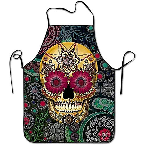 WEERQ Aprons Sugar Skulls Funny Pinafore Colorful Lightweight Adjustable Plus Size Bib Apron Adult Without Pocket