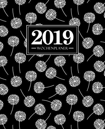 Wochenplaner 2019: 19 x 23 cm: weiße Blumen auf Schwarz 4001 (Schwarz Wochenplaner)