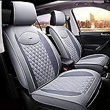 Auto-Sitzbezüge Leder-Optik | Universal Auto-Sitzschoner Set für Sommer & Winter | Kunstleder Auto-Schonbezüge für die Vordersitze & Rückbank,E