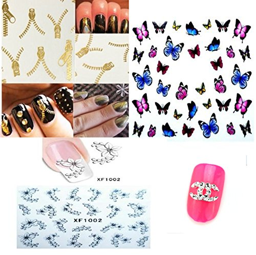 3 feuilles stickers decals water nail art ongles + 1 petit strass lettre argenté