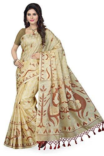 Rani Saahiba Art Silk Saree With Blouse Piece (SKR2481_Beige-Mustard_One Size)