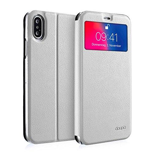 Preisvergleich Produktbild doupi FlipCase für iPhone X/iPhone 10 (5,8 Zoll), Deluxe Schutzhülle mit Sichtfenster Magnet Verschluss Klappbar Book Style Aufstellbar als Ständer, weiß