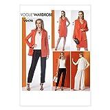 Vogue Patterns V9176 Misses' Notch-Collar Back-Pleat Jacket, Top, Dress & Pants, A5 (6-8-10-12-14)