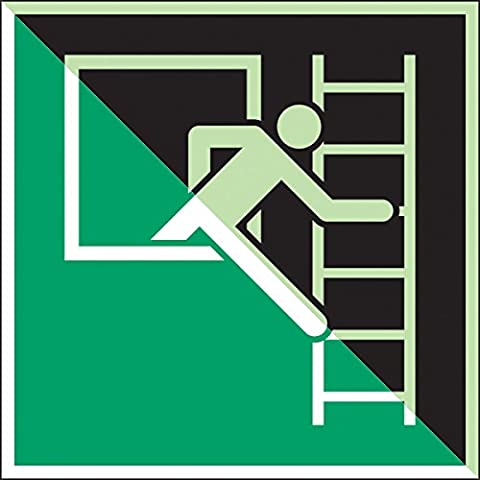 Brady 836582 Emergency And First Aid Class C Polyester Sign, Emergency Window With Escape Ladder (Right), 150 mm x 150 mm, Photoluminescent on Green