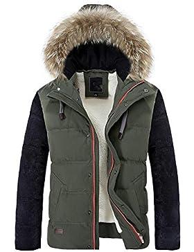MHGAO Capa de la chaqueta con capucha del invierno de los hombres de Down , army green , xl