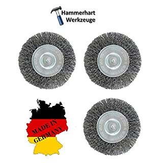 Set of 3Disc Brush with 6mm shank DRM 100x 8-10mm Steel Wire–Made in Germany–suitable for Drills, Bosch, Einhell, Makita and Ryobi, Kress, Makita, Festool/Einhell/AEG/Black & Decker