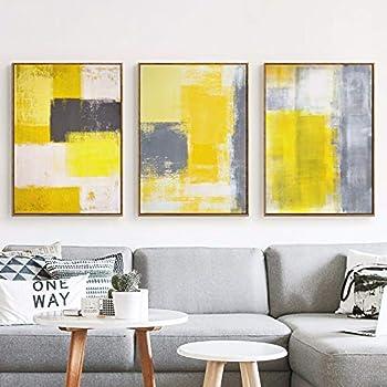 Peinture Abstraite Jaune Gris Et Blanc Peinture Sur Toile