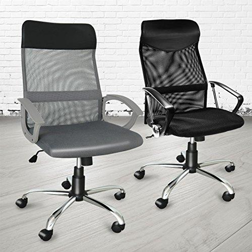 Chaise de bureau ergonomique Office Marshal® | siege bureautique à roulettes | stop au mal de dos | confortable, inclinable, réglable | Hyperion - grise