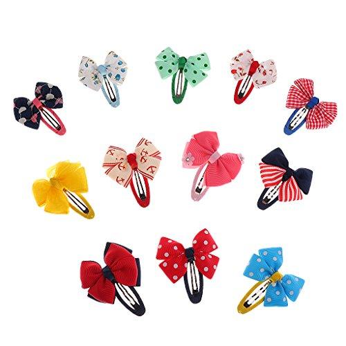 MagiDeal 12er Set Baby Mädchen Haarschleifen Haarspange Haarklammern Süß Bowknot Fliege Haarschmuck Geschenkset - Farbe 4 (Kleinkind Boutique)