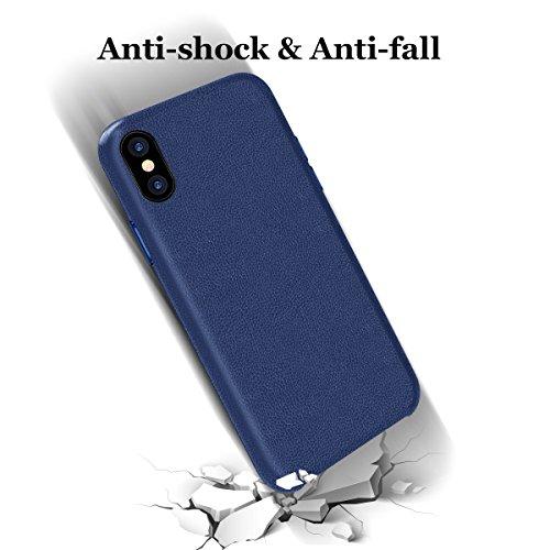 iPhone X Hülle, Hanlesi Apple iPhone 10 Leder Slim Back Cover Bumper Schutzhülle mit Weichen Innenschutz Schale für Apple iPhone X 5.8-Zoll Königsblau