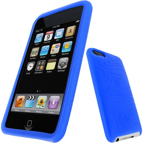 igadgitz U0299 Silikon Hülle Etui Case Schutzhülle Tasche für Apple iPod Touch 2. & 3. Generation mit Schutzfolie - Blau - Apple Ipod Touch 3g