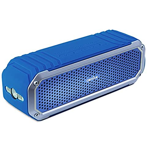 Bluetooth Speakers, COMISO [Max_Audio] Portable Bluetooth V4.0 Wireless Speaker with Dual 5W Drivers Strong Bass Up to 15 Hours Play time, Outdoor Subwoofers Speakers with Flashlight - (Navy Blue)