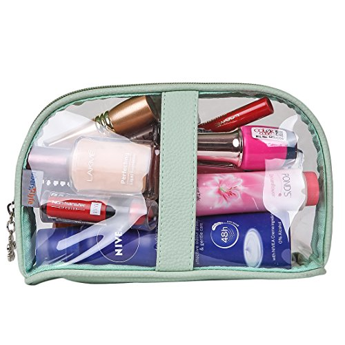 UberLyfe Transparent Waterproof Plastic PVC Travel Cosmetic Pouch Makeup Pouch Perfect for Carrying Makeup kit / Makeup/ Lip pencils/ Makeup Brushes / Cosmetics Pouch for Women & Girls (1688-TPGN-S)