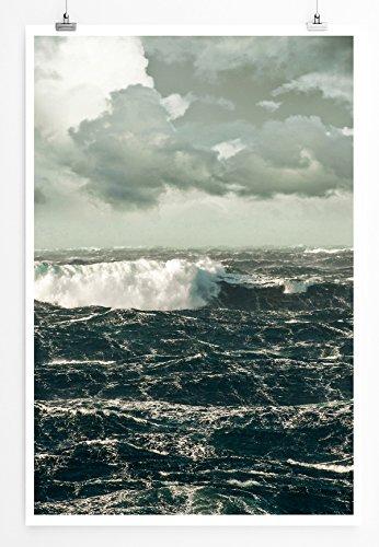 Eau Zone Home Bild - Landschaft Natur - Stürme Wellen im Atlantik- Poster Fotodruck in höchster Qualität