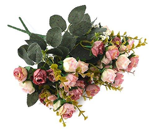 Fiori secchi e confezione da 21 pezzi, in seta, a forma di rose, finto bouquet, matrimonio, decorazione per la casa, confezione da 2 pezzi, color rosa e caffè - 6