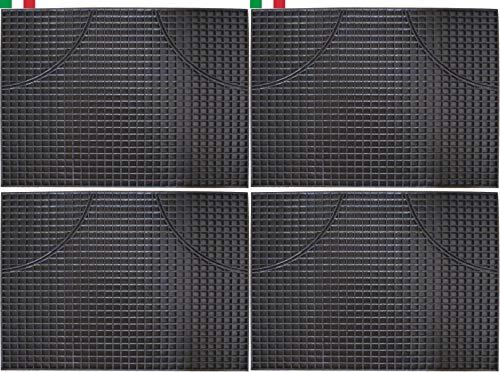 CENNI 33474 Lot de 4 Tapis de Sol Auto en Caoutchouc Rectangulaires 47 x 35, Sauve Moquette, Made in Italy
