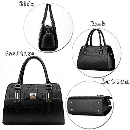 (G-AVERIL)Donne Boutique moderno ed elegante maniglia superiore borsa del messaggero della borsa della spalla del Tote casuale del lavoro Bauletto Rosso viola