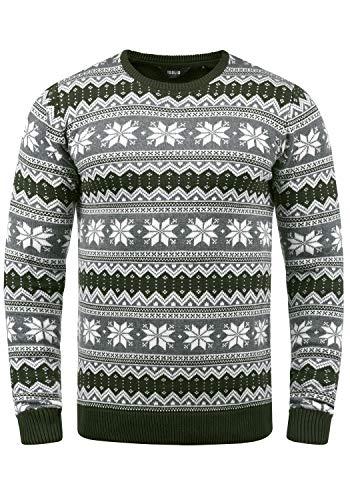 !Solid Winno Herren Weihnachtspullover Norweger-Pullover Winter Strickpullover Grobstrick Pullover mit Rundhalsausschnitt, Größe:M, Farbe:Rosin (3400)